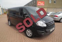 FORD TRANSIT CUSTOM L2 H1 - LIMITED - BLACK - 125ps - AIR CON + HEATED SEATS - FSH