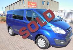 FORD TRANSIT CUSTOM 2016 - 6 SEAT CREW CAB - 42,000m - TREND - 125ps - DEEP IMPACT BLUE
